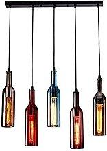 dtkmkj 5-Light Vintage Industrial Colored Glass