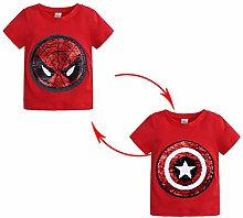 DTZW Kids Boys T-Shirt Cute Hero Sequins Short