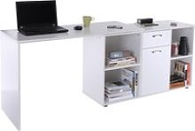 Dual-Use Adjustable L-Shaped Computer Desk-White