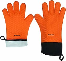 Dualeco Silicone BBQ Gloves - Heat Resistant Grill