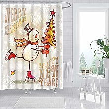 duanyunmei Merry Christmas Prints Bath Shower