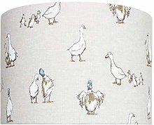 Duck & Ducklings Linen Print Drum Lampshade (40 cm