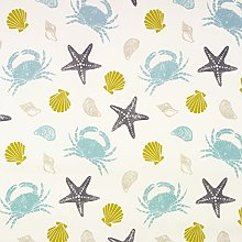 Duck Egg and Grey Seashells and Crabs Oilcloth