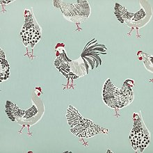 Duck Egg Blue Chickens PVC Oilcloth Wipe Clean