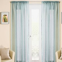 Duck Egg Blue/Green Sparkle Voile Curtain Panel