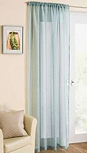 Duck Egg Blue/Green Sparkle Voile Curtain Slotted