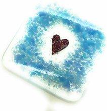 Duck Egg Blue Heart Fused Glass Coaster - Handmade