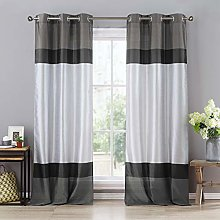 Duck River Textile Curtain Set, Grey-Black-Silver,