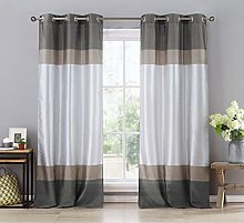 Duck River Textile Curtain Set, Grey-Taupe-Silver,