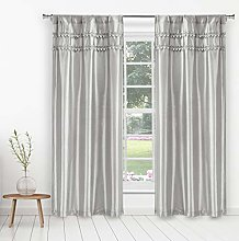 Duck River Textile Curtain Set, Silver, 38x84