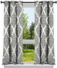 Duck River Textile Damask Window Curtain Set,