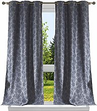 Duck River Textile Floral Blackout Curtain, Slate
