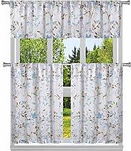 Duck River Textile Floral Kitchen Curtain, Blue,