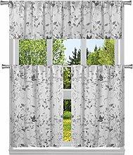 Duck River Textile Floral Kitchen Curtain, Grey,