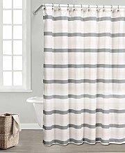 Duck River Textile Shower Curtain, Grey-Linen,