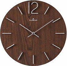 Dugena Wall Clock, Wood, Dark Brown, 30,5 cm