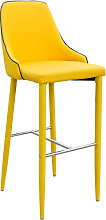 Duncan Yellow Fabric Bar Stool With Metal Foot Rest