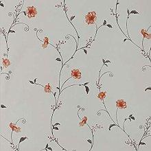 Dundee Deco AZ-F8252 Floral Printed Light Grey,