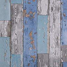 Dundee Deco AZ-W0447 Distressed Wood Blue, Teal,