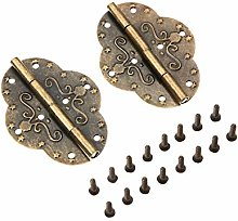 DUO ER 2Pcs Antique Cabinet Hinges for Jewelry