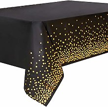Duocute Black and Gold Party Tablecloth Disposable