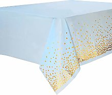 Duocute Blue and Gold Party Tablecloth Disposable