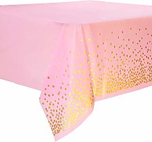 Duocute Pink and Gold Disposable Party Tablecloth