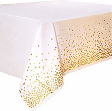 Duocute White and Gold Disposable Party Tablecloth