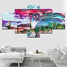 DUODUOQIAN Abstract Color People 5 Panel Wall Art