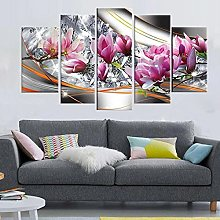DUODUOQIAN Abstract Flowers 5 Panel Canvas Wall