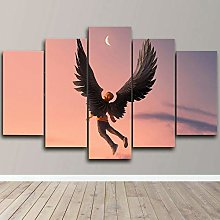 DUODUOQIAN Angel Boy Abstract 5 Panel Canvas Wall