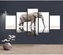 DUODUOQIAN Animal Elephant 5 Panel Wall Art