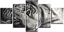 DUODUOQIAN Animal Leopard Gaze 5 Panel Canvas Wall