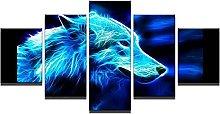 DUODUOQIAN Animal Wolf. 5 Panel Canvas Wall Art