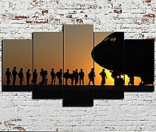 DUODUOQIAN Army Soldiers Air Force 5 Panel Canvas