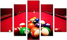 DUODUOQIAN Billiard Balls 5 Panel Wall Art