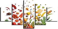 DUODUOQIAN Bread Vegetable Milk 5 Panel Canvas