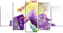 DUODUOQIAN Cabbage Purple Flower 5 Panel Wall Art