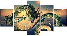DUODUOQIAN Chinese Dragon 5 Panel Canvas Wall Art