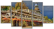 DUODUOQIAN Consonno Italy Town 5 Panel Canvas Wall