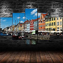 DUODUOQIAN Copenhagen Denmark 5 Panel Wall Art