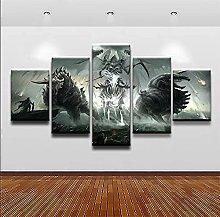 DUODUOQIAN Demon Warrior Knight 5 Panel Canvas