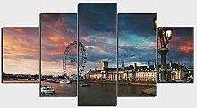 DUODUOQIAN London Eye Millennium Wheel 5 Panel