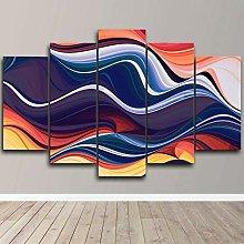 DUODUOQIAN Modern Colorful Waves 5 Panel Canvas