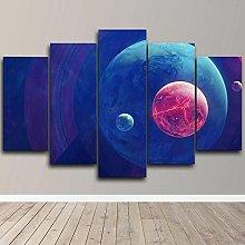 DUODUOQIAN Moon Space Planets 5 Panel Wall Art