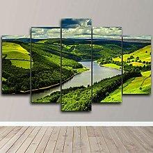 DUODUOQIAN Mountain Landscape Lake 5 Panel Wall