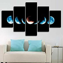 DUODUOQIAN Phases Of The Moon Cycle 5 Panel Canvas