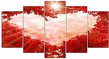 DUODUOQIAN Red Leaves Heart Foliage 5 Panel Canvas