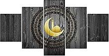 DUODUOQIAN Religion Modular 5 Panel Canvas Wall