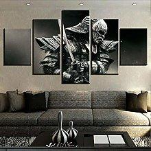 DUODUOQIAN Samurai Sword Armor 5 Panel Wall Art